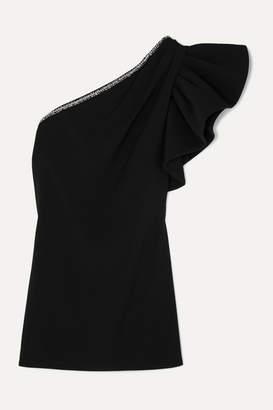 Self-Portrait One-shoulder Embellished Crepe Mini Dress - Black