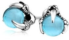 Bling Jewelry Orb Dragon Claw Blue Ball Stud Earrings Silver Tone Stainless Steel