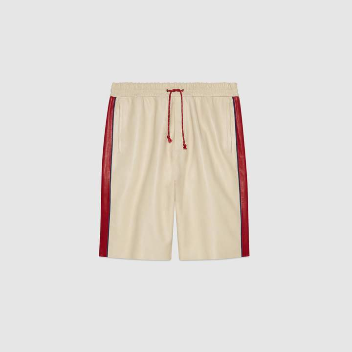 Gucci Leather shorts with pool patch