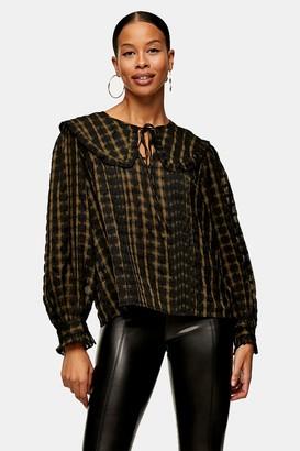 Topshop Womens Khaki Check Collar Blouse - Khaki