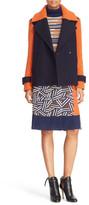 Diane von Furstenberg &Kenzly& Colorblock Mixed Media Coat