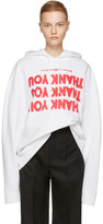 Raf Simons White 'Thank You' Regular Hoodie
