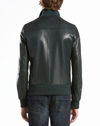 Gucci Leather Jacket with Green/Red/Green Collar, Green