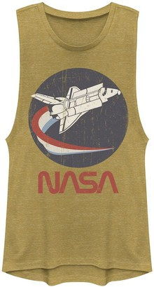 Licensed Character Juniors' NASA Rocket Red White & Blue Swoosh Logo Muscle Tee