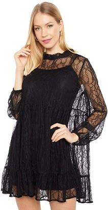 WAYF Monaco Babydoll Lace Dress (Black) Women's Dress