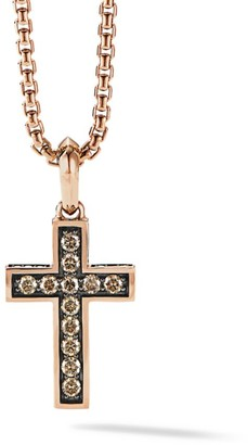 David Yurman The Pave Collection Cross 18K Rose Gold & Diamond Enhancer Pendant
