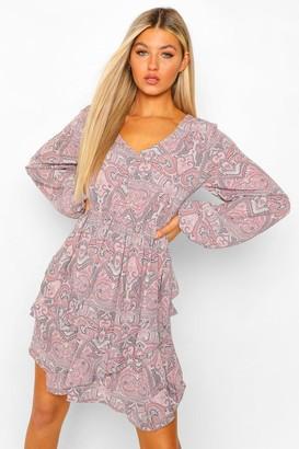 boohoo Tall Paisley Print Ruffle Long Sleeve Skater Dress