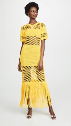 Sonia Rykiel Fishnet V Neck Dress