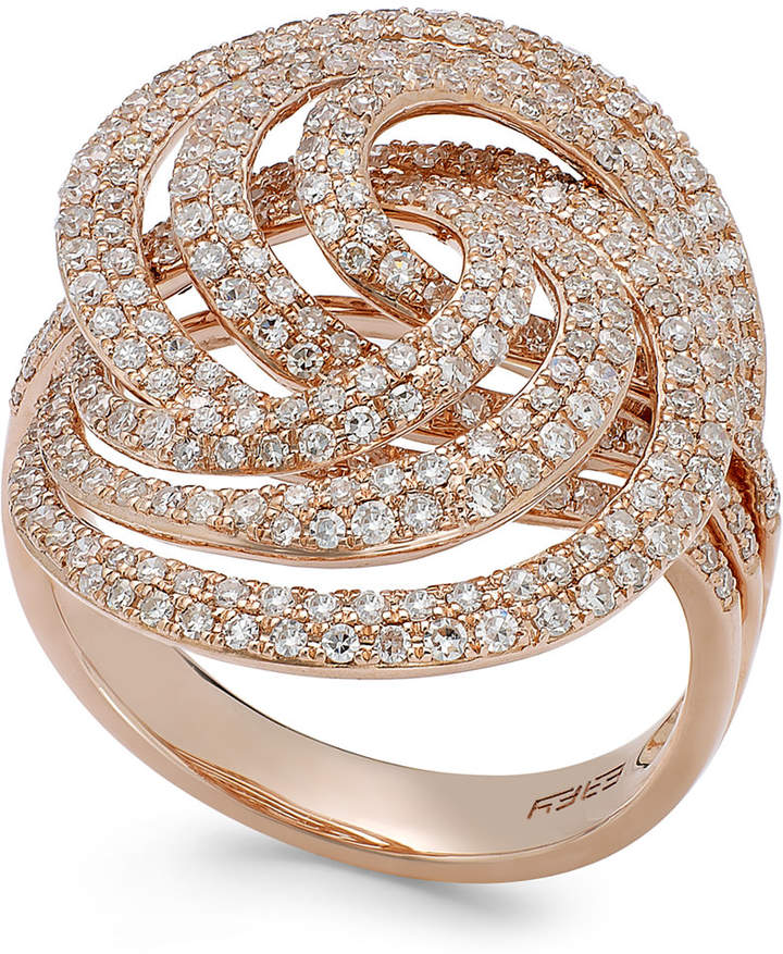 Effy Pave Rose by Diamond Spiral Ring in 14k Rose Gold (1-1/4 ct. t.w.)