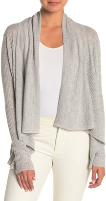 Vince Ribbed Open Front Wool Blend Cardigan