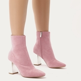 Public Desire Orla Metallic Silver Heel Ankle Boots in Rose Faux Suede