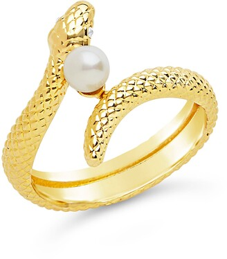 Sterling Forever Twist Serpent & Imitation Pearl Ring