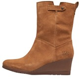 UGG Womens Potrero Waterproof Suede Wedge Boots Chestnut