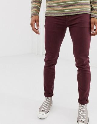 Asos Design DESIGN skinny jeans in burgundy-Red