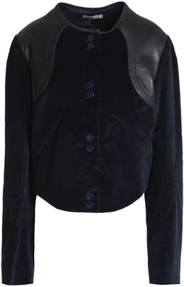 Nina Ricci Leather-trimmed Cotton-blend Corduroy Jacket