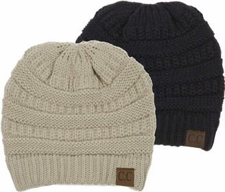 Funky Junque Solid Ribbed Beanie Slouchy Soft Stretch Cable Knit Warm Skull Cap - gold - One size