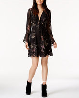 Astr Crystal Crocheted-Trim Fit & Flare Dress