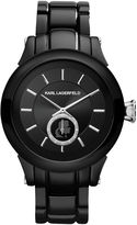 Karl Lagerfeld Unisex Silver and Black Ion-Plated Stainless Steel Bracelet Watch 40mm KL1206