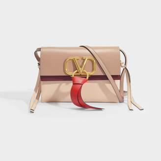 Valentino Garavani Go Logo Small Shoulder Bag In Pink Cinnamon And Red Calfskin