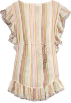 Zimmermann Tropicale Fringed Striped Cotton-blend Dress - Beige