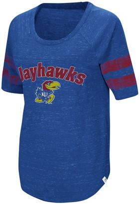 Colosseum Women's Royal Kansas Jayhawks Bean Babbitt Striped Raglan Half-Sleeve T-Shirt