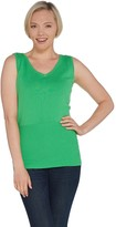 Linea By Louis Dell'olio by Louis Dell'Olio Whisper Knit V-Neck Tank w/Ribbed Detail
