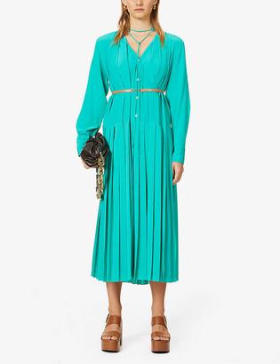 Victoria Beckham Pleated belted silk midi dress