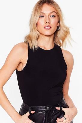 Nasty Gal Womens What Do You Slink Petite Racer Bodysuit - Black