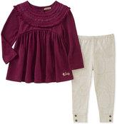 Lucky Brand Purple Ruffle Tunic & Cream Leggings - Girls