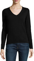 Neiman Marcus Cashmere V-Neck Long-Sleeve Pullover Sweater, Black