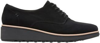 Clarks Sharon Noel Black Nubuck Flat Shoe