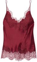 Carine Gilson Lace-trimmed Silk-satin Camisole - Claret
