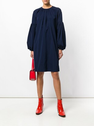 Calvin Klein bell-sleeved dress blue