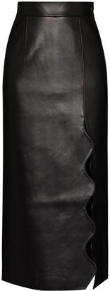 MATÉRIEL Scalloped-Edge Faux-Leather Pencil Skirt