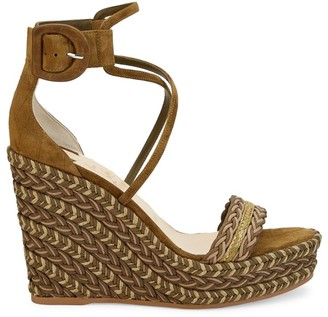 Christian Louboutin Bodrum Suede Braided Wedge Platform Sandals