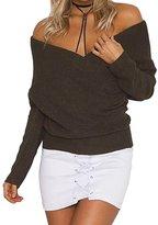 YOUJIA Women's V-Neck Drop Shoulder Sleeve Cross Wrap Pullover Sweater Jumper