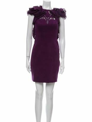 Marchesa Crew Neck Mini Dress Purple