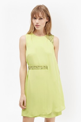 French Connection Cecil Drape Embellished Trim Dress