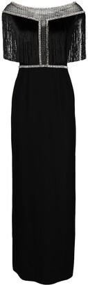 Jenny Packham Fringed Sheer-Panelling Dress