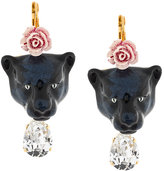 Dolce & Gabbana panther and rose drop earrings