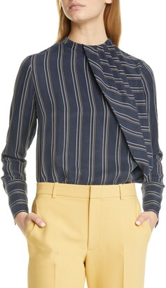 Club Monaco Stripe Asymmetrical Pleat Top