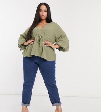 ASOS DESIGN Curve kimono top with draw string waist in light khaki