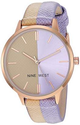 Nine West Women's Rose Gold-Tone Accented Tan and Lavender Vegan Leather Strap Watch