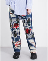 Junya Watanabe Distressed tartan-patch straight high-rise jeans