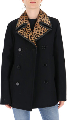 Saint Laurent Contrasting Collar Double-Breasted Coat
