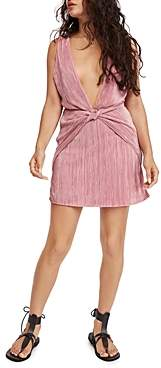 Free People Twist And Shout Plunging Mini Dress