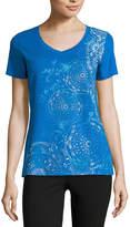 Made For Life Short Sleeve V Neck T-Shirt-Womens Petites