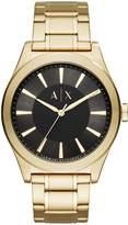 Armani Exchange Black Dial Gold Tone Stainless Steel Bracelet Mens Watch