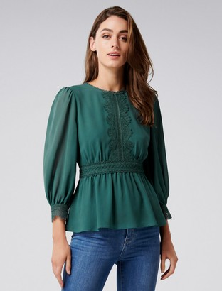 Forever New Addie Trim Sleeve Puff Blouse - Green Escapade - 4