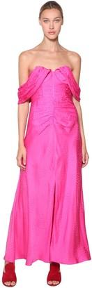 Self-Portrait Off-The-Shoulder Satin Jacquard Dress